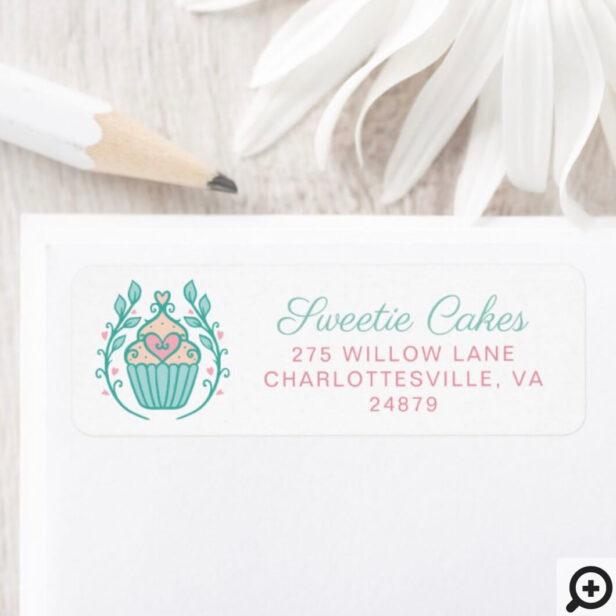Simple & Modern Style Bakery Cupcake & Wreath Logo Label