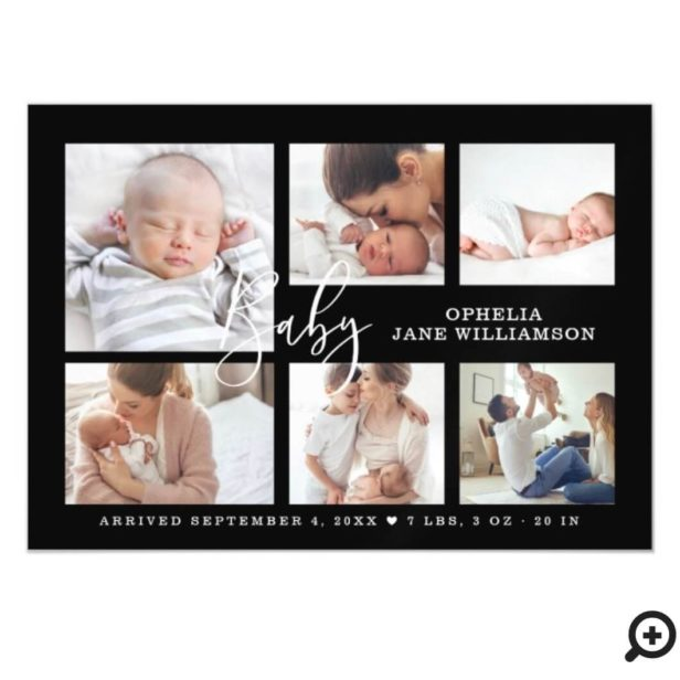 Simple Script Baby Birth Photo Collage Black Magnetic Invitation
