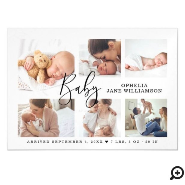 Simple Script Baby Birth Photo Collage White Magnetic Invitation