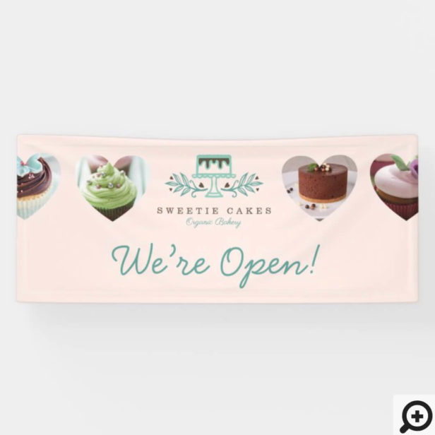 Stylish Bakery Cake Logo & Heart Photo Were Open Banner