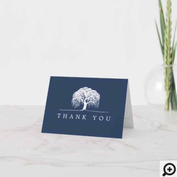 Thank You Rustic Navy Blue White Willow Tree Logo