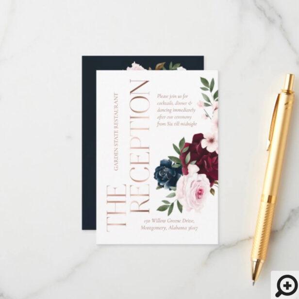 The Reception Burgundy & Navy Watercolor Florals Enclosure Card