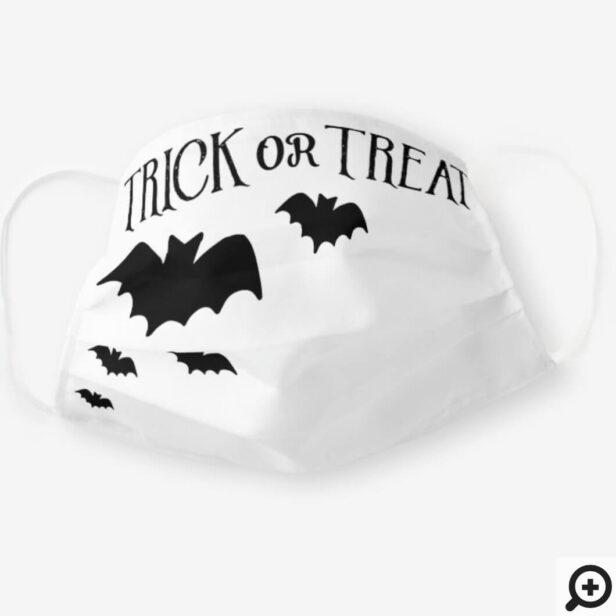 Trick Or Treat Black & White Fun Halloween Bat Cloth Face Mask