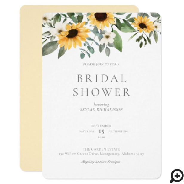 Watercolor Sunflowers & Wildflower Bridal Shower Invitation