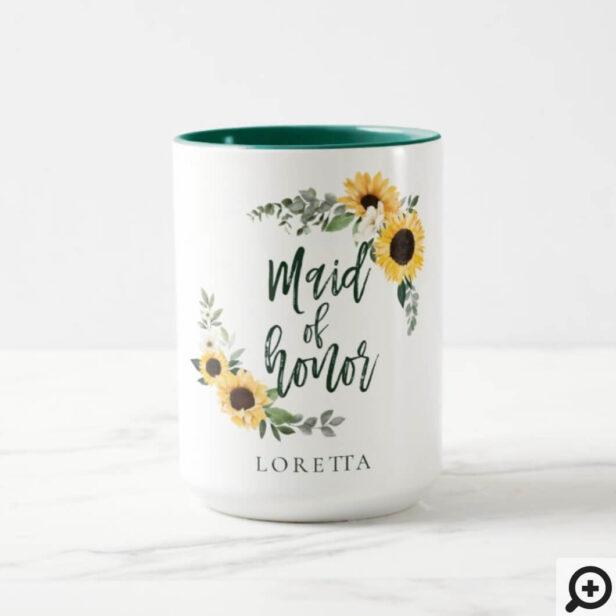 Watercolor Sunflowers Wildflower Maid Of Honor Mug