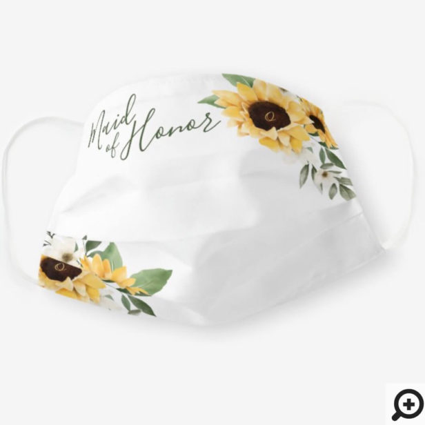Watercolor Yellow Sunflower Maid of Honor Cloth Face Mask