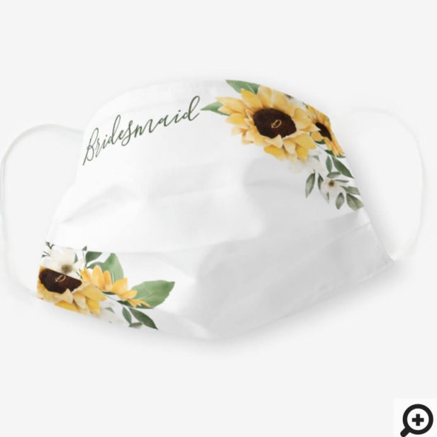Watercolor Yellow Sunflower Wedding Bridesmaid Cloth Face Mask