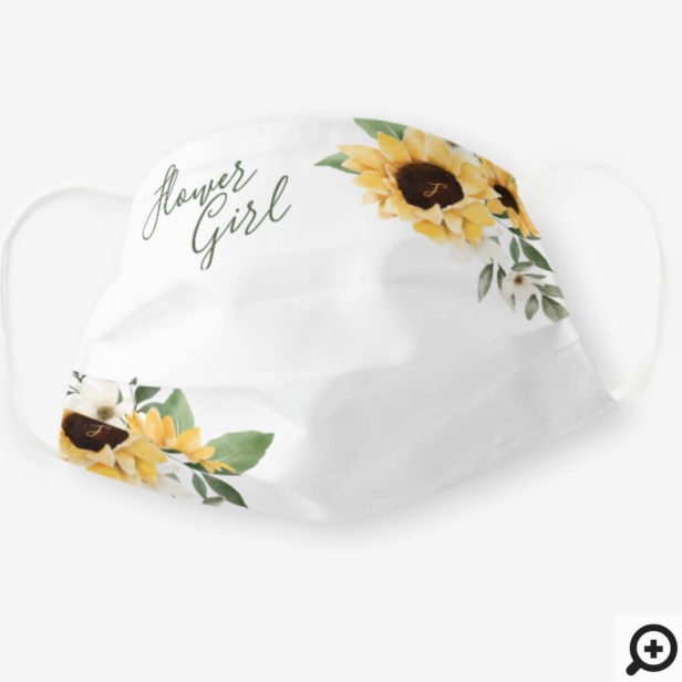 Watercolor Yellow Sunflower Wedding Flower Girl Cloth Face Mask