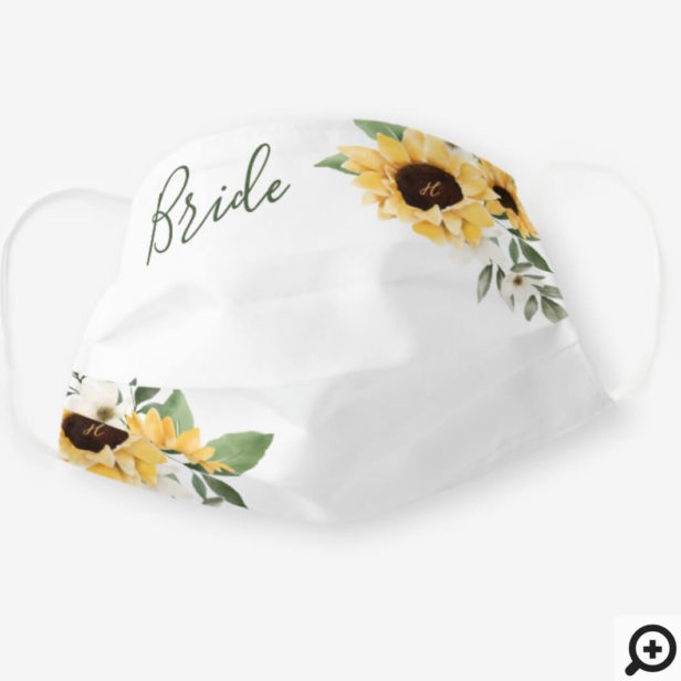 Watercolor Yellow Sunflower White Wedding Bride Cloth Face Mask