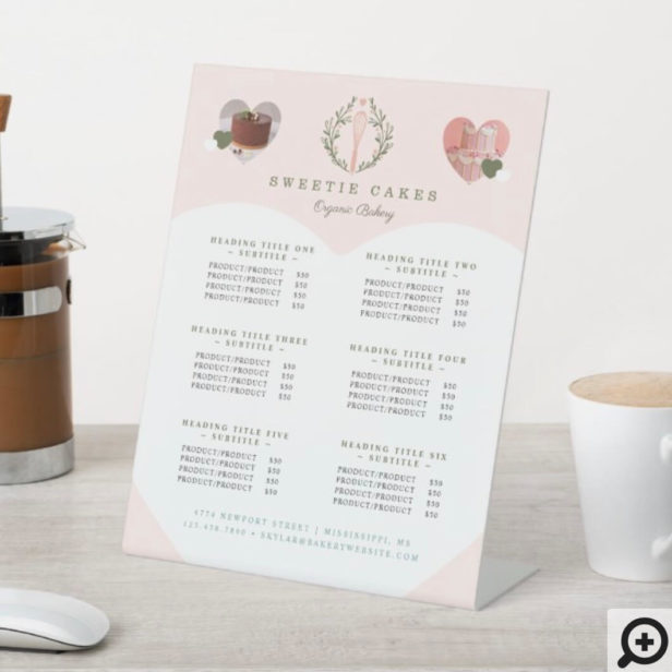 Whisk & Wreath Bakery Shop Logo Service Prices Pedestal Sign