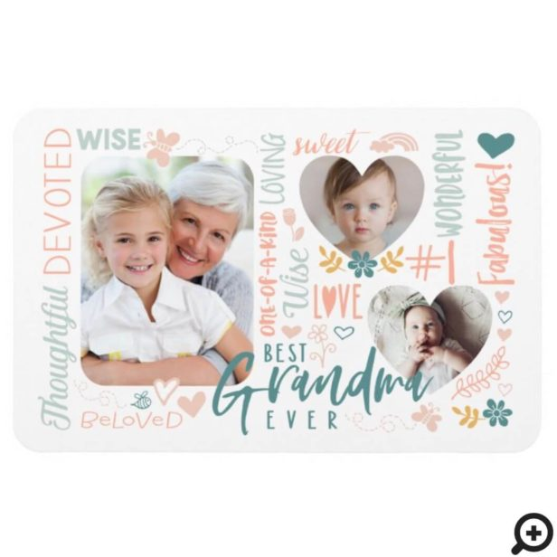 Words for Best Grandma Ever Grandkid Photo Collage Magnet