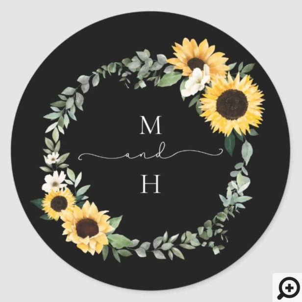 Yellow Watercolor Sunflower Country Wreath Wedding Classic Round Sticker