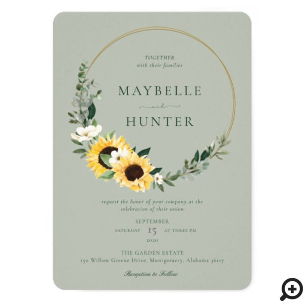 Yellow Watercolor Sunflower Country Wreath Green Wedding Invitation