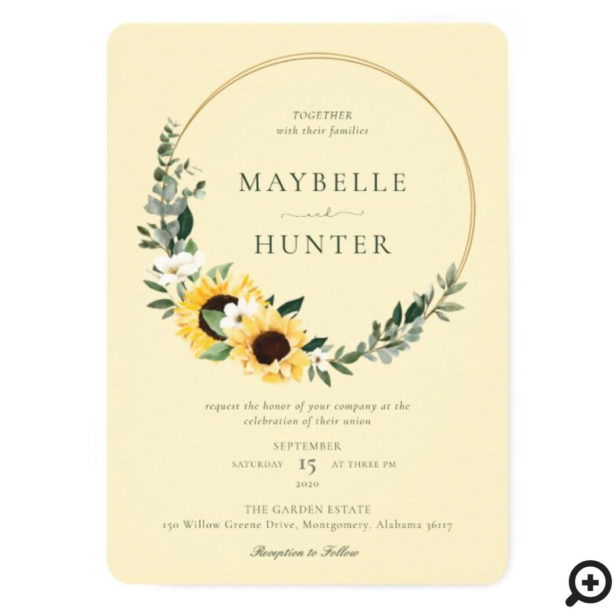 Yellow Watercolor Sunflower Country Wreath Yellow Wedding Invitation