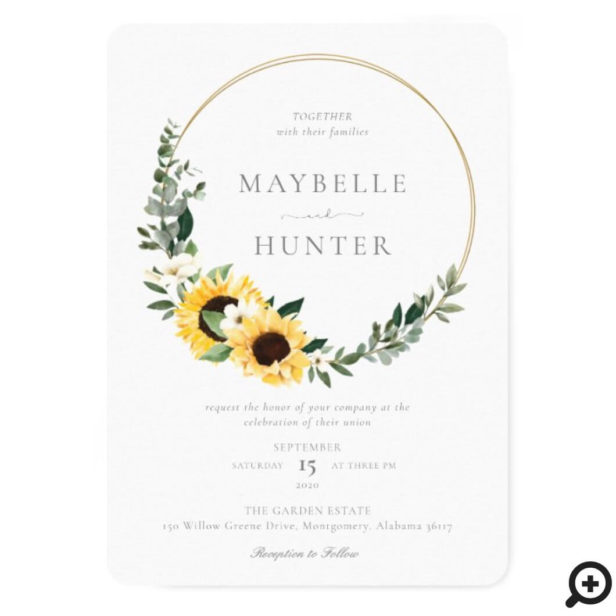 Yellow Watercolor Sunflower Country Wreath Wedding Invitation