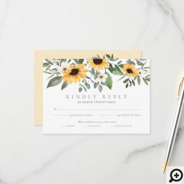 Yellow Watercolor Sunflowers RSVP Entrée Choices