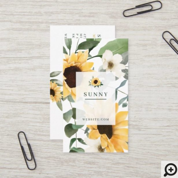 Yellow Watercolor Sunflowers & Wildflower Bohemian Business Card