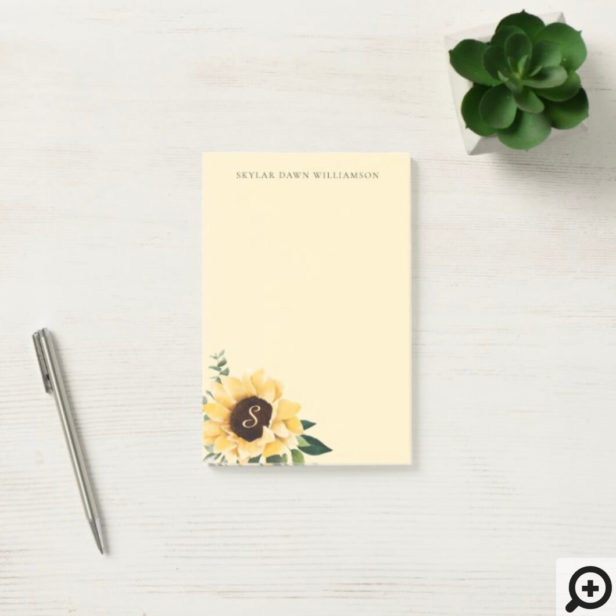Yellow Watercolor Sunflowers & Wildflower Bohemian Post-it Notes