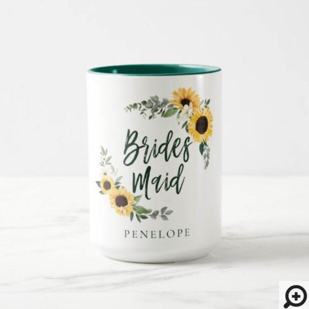 Yellow Watercolor Sunflowers Wildflower Bridesmaid Mug