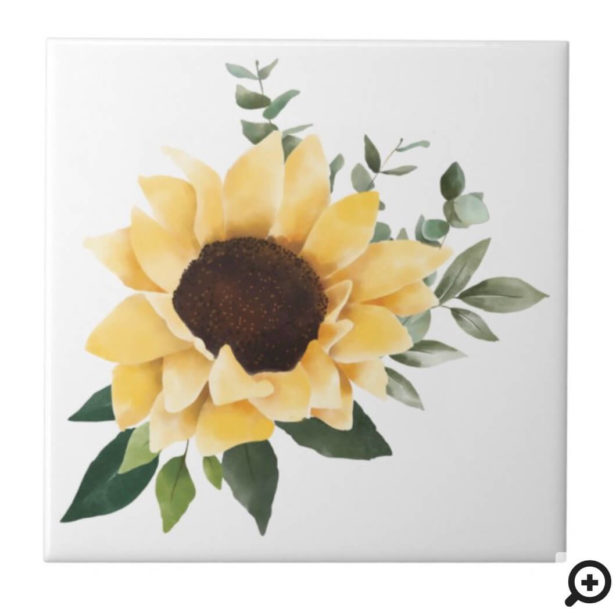 Yellow Watercolor Sunflowers & Wildflower Design Ceramic Tile