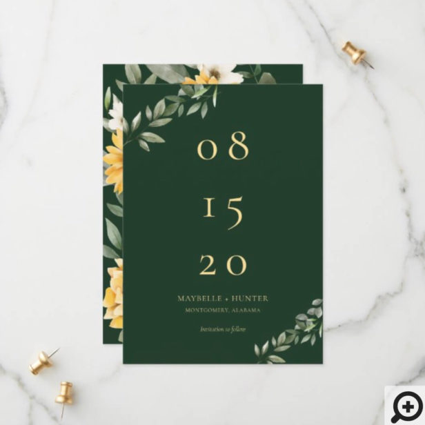 Yellow Watercolor Sunflowers & Wildflower Modern Save The Date
