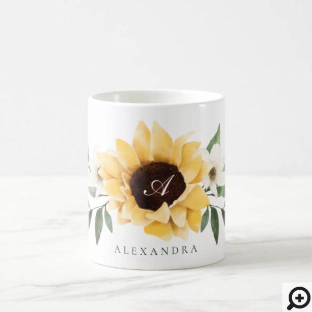 Yellow Watercolor Sunflowers & Wildflower Monogram Coffee Mug