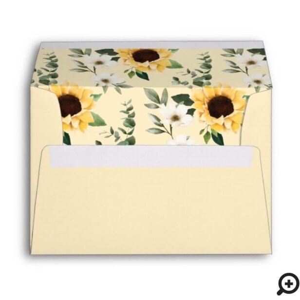 Yellow Watercolor Sunflowers & Wildflower Pattern Envelope4