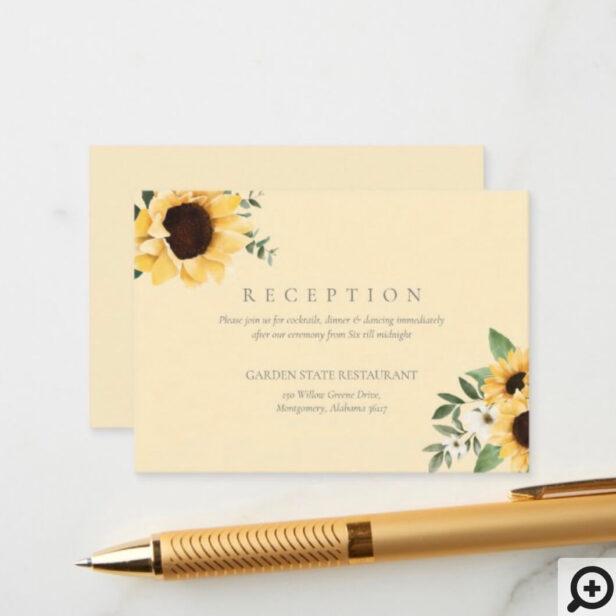Yellow Watercolor Sunflowers & Wildflower Wedding Enclosure Card