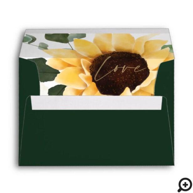 Yellow Watercolor Sunflowers & Wildflower Wedding Envelope