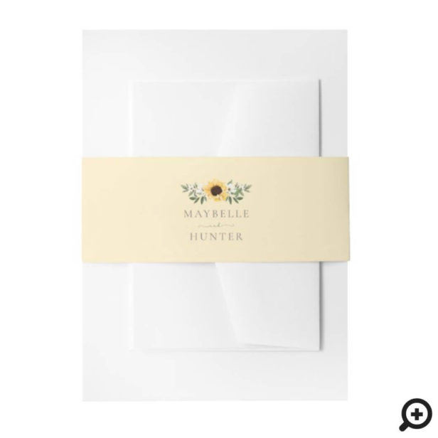 Yellow Watercolor Sunflowers & Wildflower Wedding Invitation Belly Band