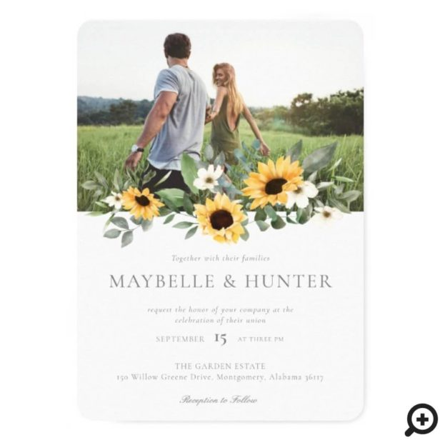 Yellow Watercolor Sunflowers & Wildflower Wedding Invitation