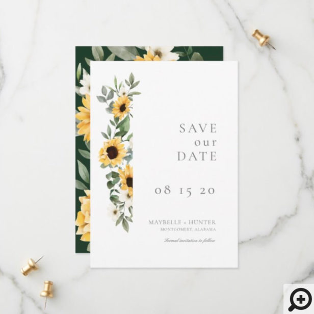 Yellow Watercolor Sunflowers & Wildflower Wedding Save The Date
