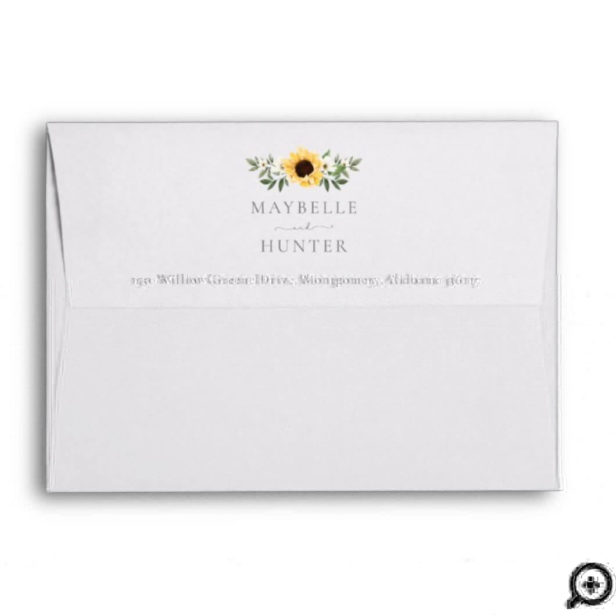 Yellow Watercolor Sunflowers & Wildflower Wedding1 Envelope