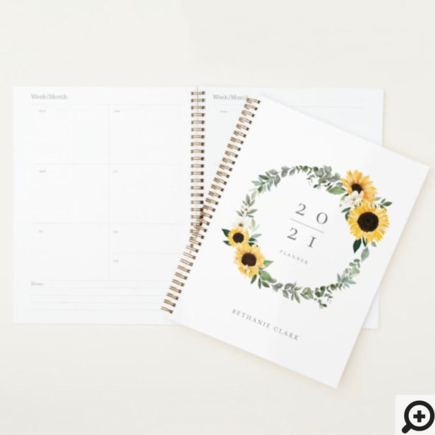Yellow Watercolor Sunflowers & Wildflower Wreath Planner