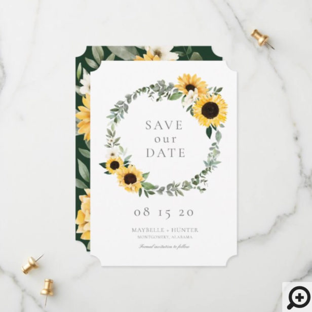 Yellow Watercolor Sunflowers & Wildflower Wreath Save The Date