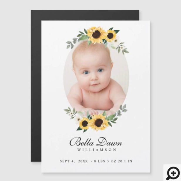 Yellow Watercolor Sunflowers Wreath Baby Photo Magnet