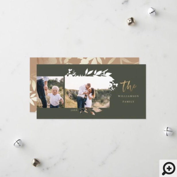 Bohemian Chic Pressed Foliage Family Photos Frame Holiday Card