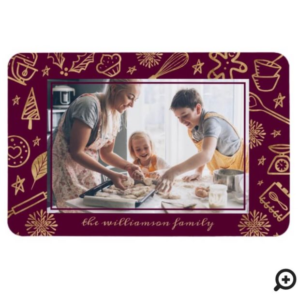 Christmas Baking Gold & Burgundy Family Photo Magnet