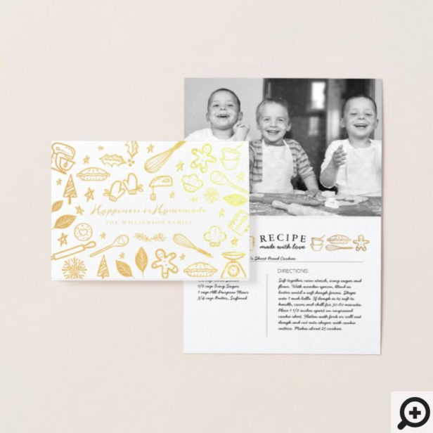 Happiness Is Homemade Family Baking Recipe Photo Foil Card