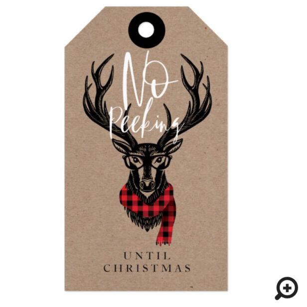 Cozy & Warm Red Buffalo Plaid Reindeer No Peeking Gift Tags
