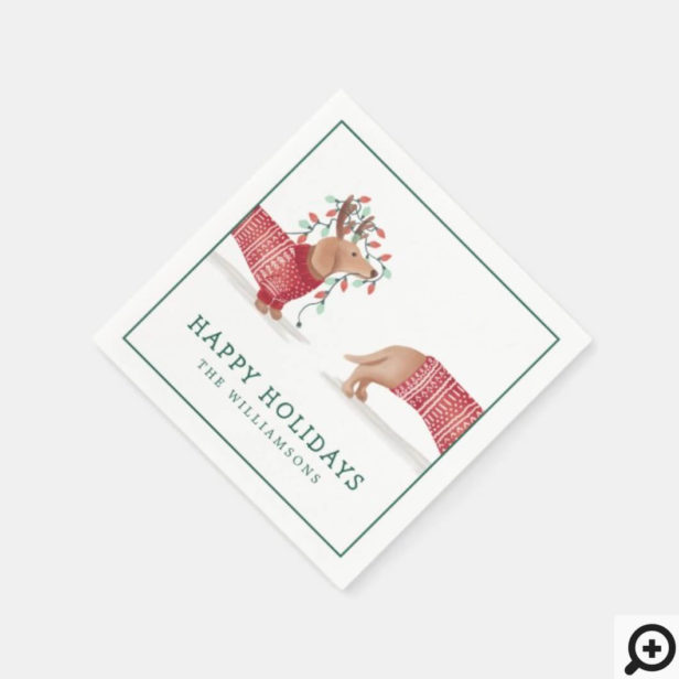 Dachshund Dog Cozy Red Knitted Christmas Sweater Napkins