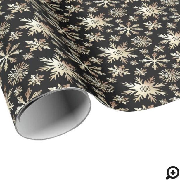 Elegant Shimming Gold & Black Snowflake Pattern Wrapping Paper