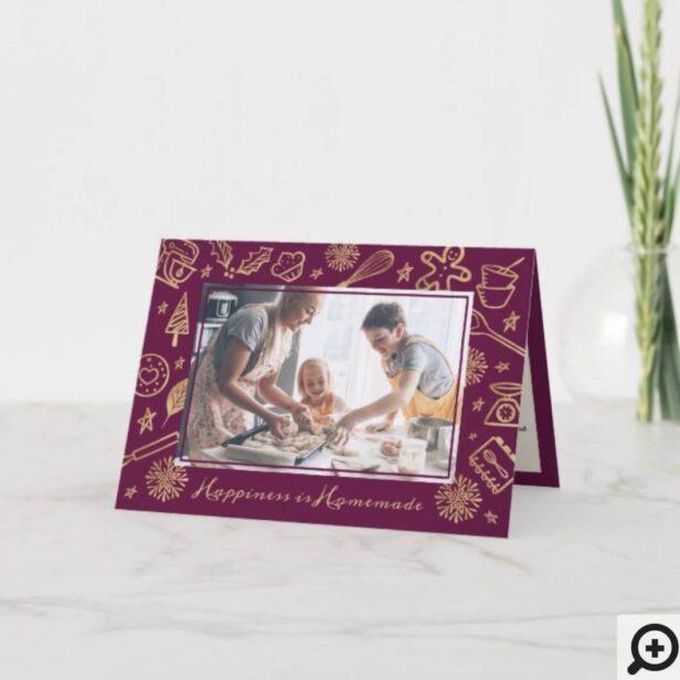 Family Christmas Recipe Gold & Burgundy Photo Holiday Card