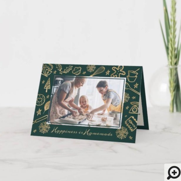Family Christmas Recipe Gold & Forest Green Photo Holiday Card