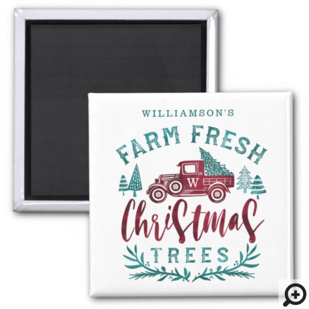 Farm Fresh Old Red Truck Christmas Tree Delivery Magnet