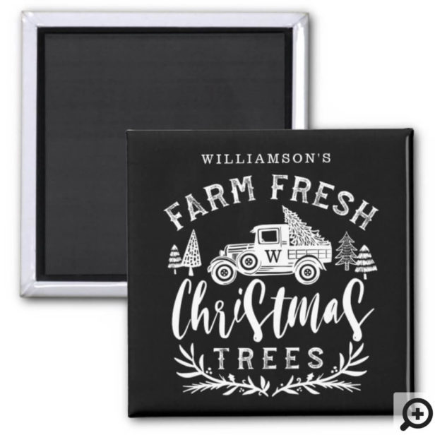 Farm Fresh Old Truck Christmas Tree Delivery Black Magnet