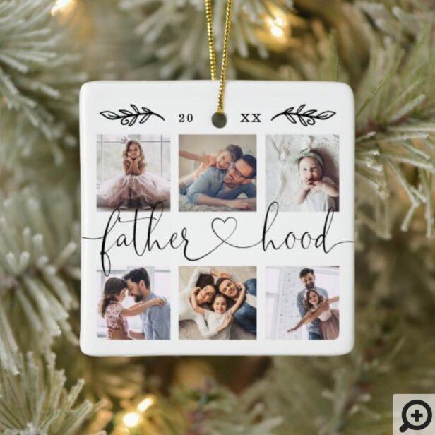 Fatherhood Family Keepsake Photo Collage Ceramic Ornament