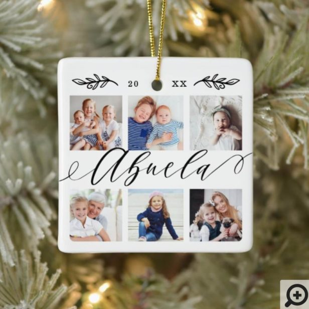 Gift for Abuela | Grandchildren Photo Collage Ceramic Ornament