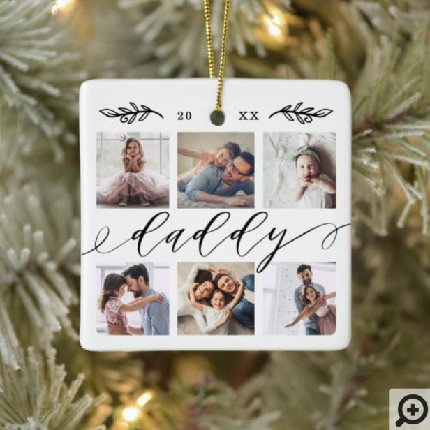 Gift for Daddy | Family Keepsake Photo Collage Ceramic Ornament