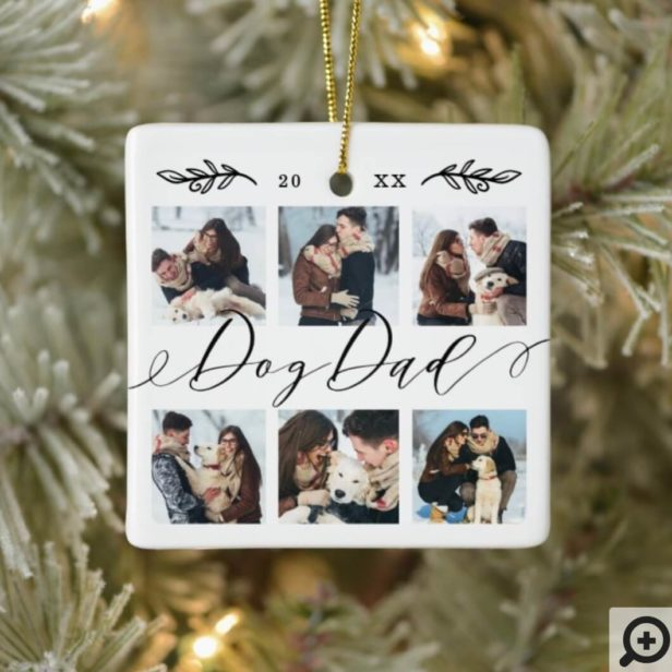Gift for Dog Dad | Keepsake Family Photo Collage Ceramic Ornament